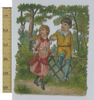 Victorian Diecuts, 1890's, Children, (68) Boy & Girl at Fence, Large