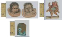 Victorian Diecuts, 1890's, Culture & People, (22) Lot of Four Cutouts, Babies
