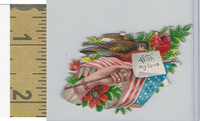 Victorian Diecuts, 1890's, Flags & Emblems, USA Flag, Bird, Flowers (6)