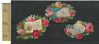 Victorian Diecuts, 1890's, Flowers, (91) Lot of 3 Ships, Flowers