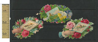 Victorian Diecuts, 1890's, Flowers, (92) Lot of 3 Windmills, Flowers