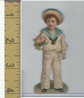Victorian Diecuts, 1890's, Ships & Nautical, (10) Sailor Boy With Flowers