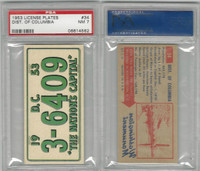 1953 Topps, License Plates Cards, #34 District of Columbia, PSA 7 NM