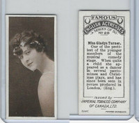 C9 Imperial Tobacco, Famous English Actresses, 1924, #28 Gladys Turner