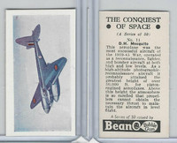 B0-0 Beano, Conquest Of Space, 1956, #11 D.H. Mosquito Airplane