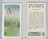 B0-0 Beano, Conquest Of Space, 1956, #22 First Liquid Fuel Rocket