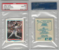 1985 Fleer Star Stickers Baseball, #64 Eddie Murray HOF, Orioles, PSA 10 Gem