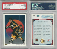 1990 Upper Deck Hockey, #320 Ray Bourque HOF, Checklist, Bruins, PSA 10 Gem