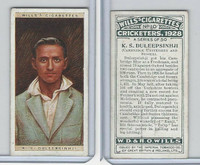 W62-126 Wills, Cricketers, 1928, #10 KS Duleepsonhji, Cambridge