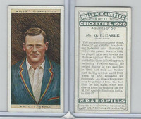 W62-126 Wills, Cricketers, 1928, #11 GF Earle, Somerset