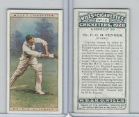 W62-126 Wills, Cricketers, 1928, #12 PGH Fender, Surrey