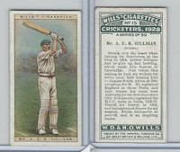 W62-126 Wills, Cricketers, 1928, #15 AER Gilligan, Sussex