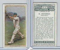 W62-126 Wills, Cricketers, 1928, #21 E Hendren, Middlesex