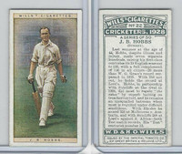 W62-126 Wills, Cricketers, 1928, #22 JB Hobbs, Surrey