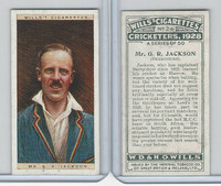 W62-126 Wills, Cricketers, 1928, #24 GR Jackson, Derbyshire