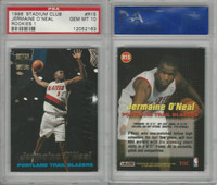 1996 Topps Stadium Club Basketball, #R15 Jermanie O'Neal, Blazers, PSA 10 Gem
