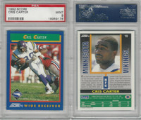 1992 Score Football, #19 Cris Carter, Vikings, Pop 1, PSA 9 Mint