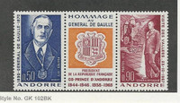 Andorra, French, Postage Stamp, #218a Mint NH, 1972 De Gaulle
