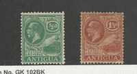 Antigua, British, Postage Stamp, #42, 47 Mint Hinged Wmk 4, 1921-29