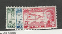 Antigua, British, Postage Stamp, #122-124 Mint LH, 1958 Maps