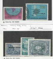 Argentina, Postage Stamp, #C113 Mint LH, C114 Used, O123, 36, 42 Mint NH