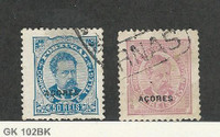 Azores, Postage Stamp, #52, 62 Used, 1882 Portugal Colony
