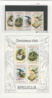 Anguilla, British, Postage Stamp, #398-401a Mint NH Set & Sheet, 1980 Birds