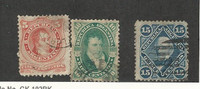 Argentina, Postage Stamp, #18, 18A, 19 Used, 1867-1868