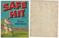 1940's Gulf Distributing, Safe Hit Vegetables, Baseball Stadium Weslaco, 7X9 WMX