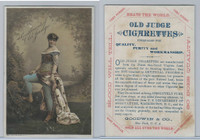 N Card, Old Judge, Goodwin, 1880's, Woman With Blue Tights & White Dress