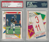 1991 Pacific Flash Cards Football, #103 Jarrod Bunch, Giants, PSA 10 Gem