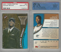 2001 Topps Pristine Basketball, #54 Kwame Brown, Wizards, PSA 10 Gem
