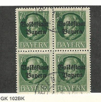 Bavaria (Germany), Postage Stamp, #138 Block Used, 1919