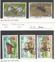 Belize, Postage Stamp, #1036, 1041, 1075-6, 1078 Used, 1995-7 Animals