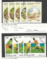 Benin, Postage Stamp, #780-4, 822-6 Used, 1995-6 Birds, Soccer Football