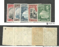 Bermuda, Postage Stamp, #118//122 (5 Different) Mint Hinged, 1938-51