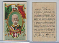 T98 LeRoy Cigars, Rulers of the World, 1900 Flag, Italy, Humbert I (Small)