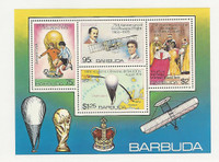 Barbuda, Postage Stamp, #377a Mint NH Sheet, Soccer, Airplane