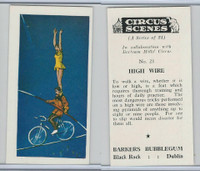 1970 Barkers Bubblegum, Circus Scenes, #21 High Wire