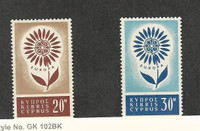 Cyprus, Postage Stamp, #244-245 Mint Hinged, 1964 Europa