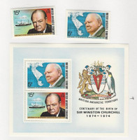 British Antarctic, Postage Stamp, #62-63, 63a Mint NH Sheet, 1974 Churchill