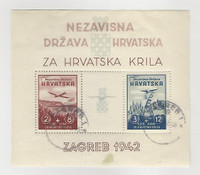 Croatia, Postage Stamp, #B11 VF Used Sheet, 1942 Airplane