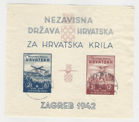 Croatia, Postage Stamp, #B12 Imperf VF Used Sheet, 1942 Airplane