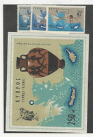 Cyprus, Postage Stamp, #300-303 Mint LH Set & Sheet, 1967 Map, Sports