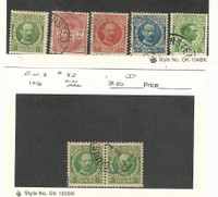 Danish West Indies, Postage Stamp, #43 Mint, 29,44,47,51 Used, 43 Pair, 1903-15