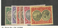 Dominica, Postage Stamp, #65-69, 74 Mint LH, 1923-33