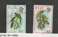 Fiji, Postage Stamp, #317, 330 Used, 1971-72 Bird, Flower