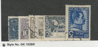 Finland, Postage Stamp, #177-9, 208-9, 213 Used, 1930-37