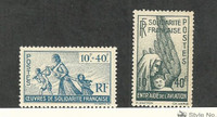French Colonies, Postage Stamp, #B7-B8 Mint Hinged, 1943-44
