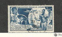 French Polynesia, Postage Stamp, #C20 Used, 1949 Airplane, Map